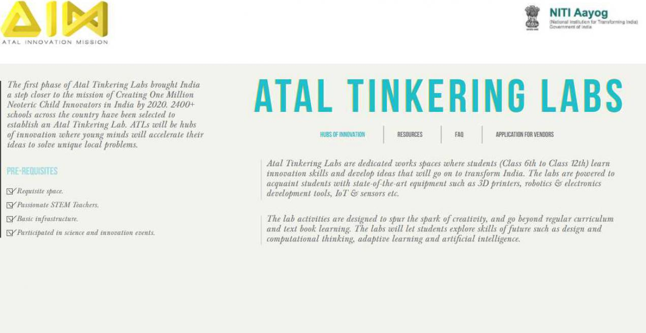Workshops for Atal Tinkering Labs (ATL) programme with teachers and students