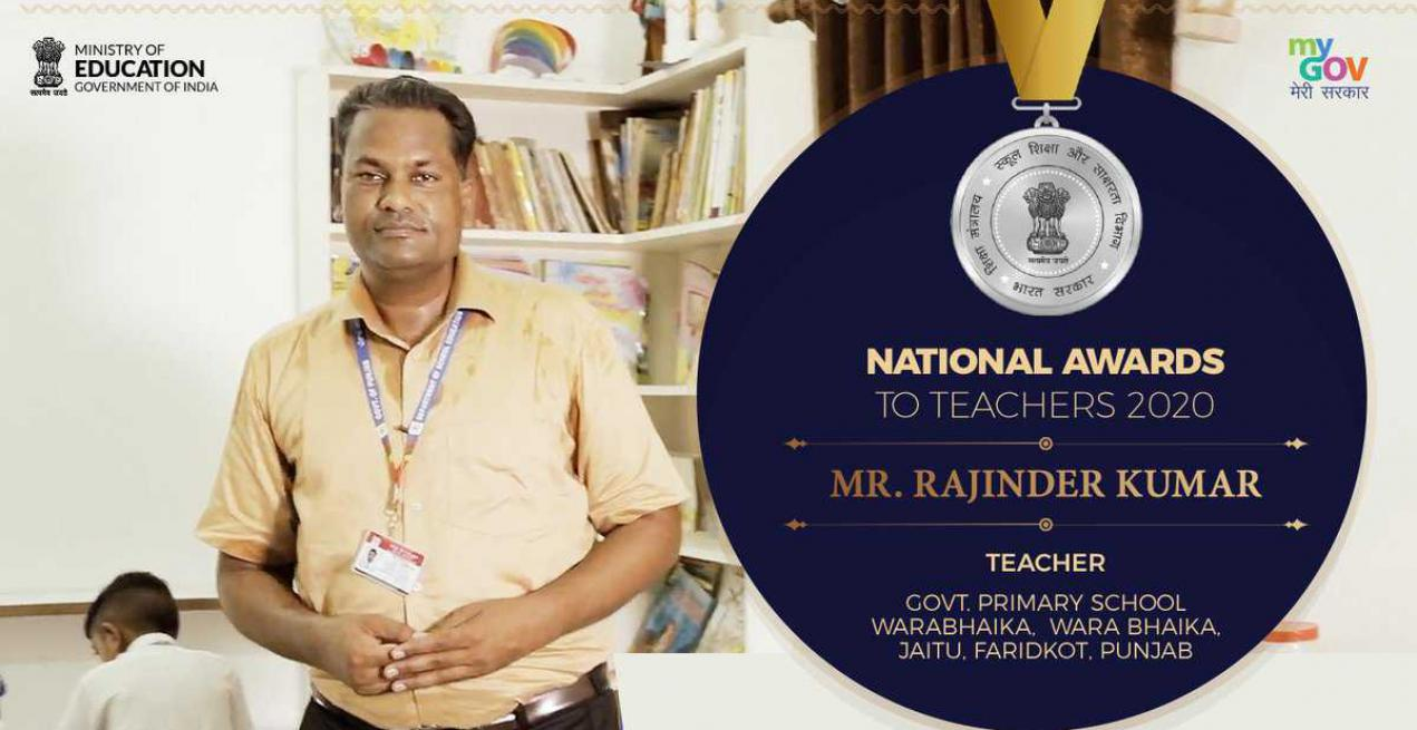 Developing Low-Cost Education Tools & Innovative Techniques Bags Rajinder Kumar National Award