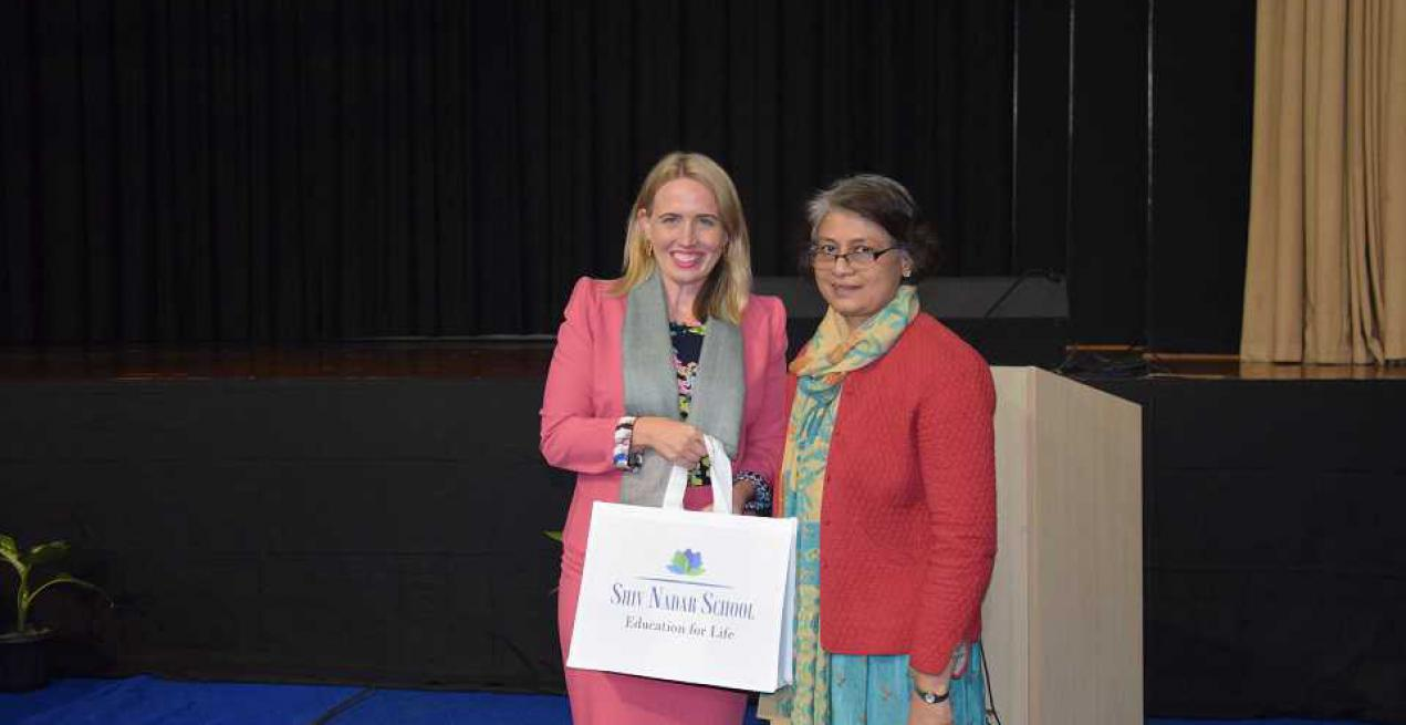 Kate Jones, Minister from Queensland, Australia, visits Shiv Nadar School, Gurugram